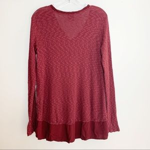Anthropologie Tops - Anthropologie Ruffled Pullover Tunic Top Maroon XS